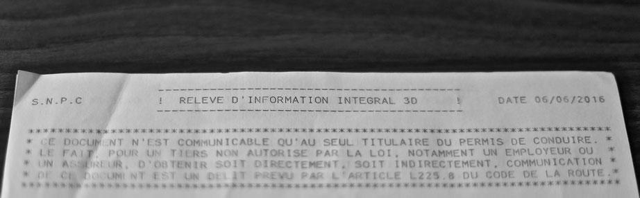 Combien de points sur votre permis ? Pour le savoir demandez votre Relevé Intégral d'Informations (RII)
